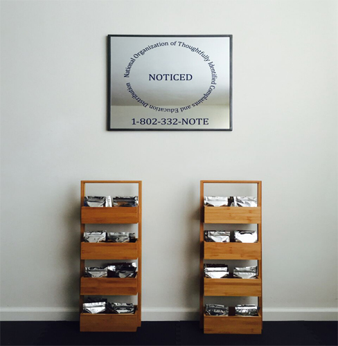 This artwork by Jamie Crooke Powell includes two shelving unit-like structures containing stacks of paper and/or documents per compartment. The structures are constructed from carefully treated wood. Above the two structures and hung on the gallery wall is a large framed silver plaque containing black text and a telephone number. The focal text is the word NOTICED and is surrounded by its acronym text: National Organization of Thoutfully Identified Complaints and Education Distribution. Below is the phone number: 1-802-332-NOTE.