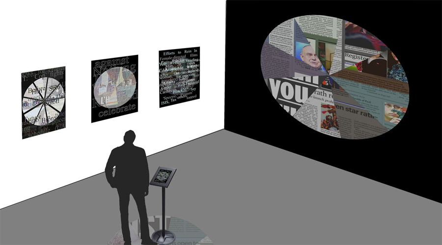 This artwork by Jody Zellen includes a depiction of a space containing three hung works side-by-side and one large work hung onto a black wall. The image here shows an individual accompanied by a displayed tablet device containing text. The wall works include some form of circular imagery or notions crafted through collage-like methods containing a multitude of media-related imagery and texts.