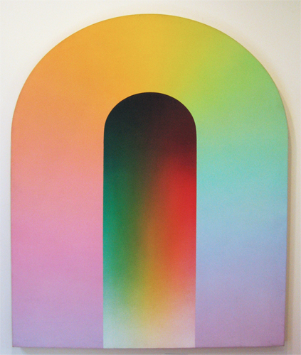 This painting by the artist James Doolin takes the shape of an arch with bright, gradient colors. The outer shape of the arch (from left to right) starts with warmer colors including pink, purple, orange and yellow, and then moves to shades of green, blue and purple again. In the middle of the arch is a smaller, narrower arch form with gradients of darker shades of green, orange and red.
