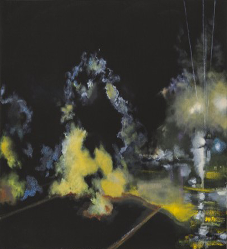 This painting by Sandy Rodriguez depicts an overall dark black background. An organically shaped impression of fog or smoke, containing a mostly yellow hue that transitions into blue and has some red accents, looms across the majority of the artwork. In the right section of the artwork are glowing yellow and blue circles. Four white lines also emerge and ascend from the large cloud-like form in the upper-right portion of the artwork.