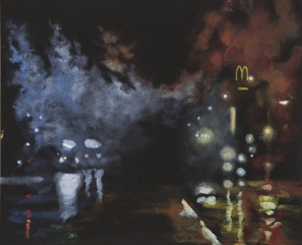 This painting by Sandy Rodriguez depicts an overall dark black background. An organic and looming impression of fog or smoke enters from the right of the artwork and travels across and towards the left. The impression of fog or smoke begins as a red hue and transitions into a blue hue. A glowing Mcdonald's sign peaks through the red smoke on the right portion of the artwork. Within the majority of artwork are glowing yellow and white circles.