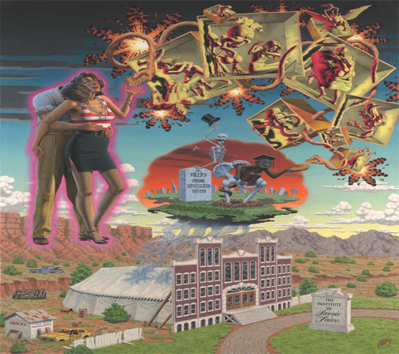 This painting by Robert Williams depicts a collection of imagery collaged onto the surface of the background layer of the artwork. The background is a large depiction of an institutional structure facade, labeled as The Institute of Savoir Faire, hiding a similarly large circus tent behind it within a barren desert-canyon landscape. The roof of the tent emits a grey smoke up and into space above and forms an image depicting a grave. Emerging from the grave is a skeleton, gesturing to the viewer but with their back turned, tipping their top hat and a cane clutched in its pit. Sitting atop the tailbone of the skeleton is a primate wearing a graduation cap gesturing an offering to the receiving hand on the right of the primate. This receiving hand continues above and to the left of the artwork in an arch-like shape made up of box-like forms containing imaginative anthropomorphic creatures. These boxes are connected by the receiving hand and lead to an offering hand on the left of the artwork. The offering hand gestures a slice of pie to an individual being embraced by another. The embraced individual wears a red and white sleeveless top and mid-cut black skirt while the individual embracing wears iron creased khakis and a tucked-in shirt with the sleeves rolled up. The viewer is able to see the face of the embraced but not of the individual embracing.