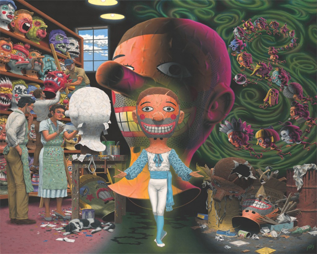 This painting by Robert Williams depicts two scenes bisected by a large render of an eerie and smiling paper-mâché mask behind an individual in costume wearing the same mask. The left scene includes four individuals engaged in labor within a paper-mâché shop or workshop. In the background, two individuals are assisting each other with carrying down a mask from the shelving unit containing a multitude of masks. In the foreground is two more individuals engaged in the paper-mâché crafting of a mask. The right scene includes more surreal imagery of the masks coming to life or being worn by individuals in a spiraling line shaped like an S. Below this spiral is a pile of broken or destroyed masks that have been deserted by a trash bin.