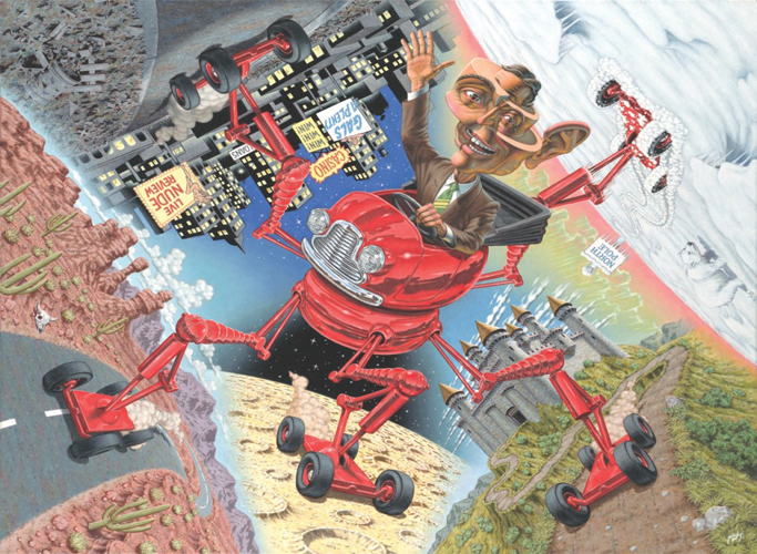 This painting by Robert Williams depicts an individual, whose face has been altered and abstracted and is dressed in a business-casual brown suit, smiling and waving while operating a bright red vehicular machine. The machine contains five extended legs with their respective four wheels against the grounds and roads of the five sceneries or landscapes sectionally depicted along the artwork. The five sceneries or landscapes are impressions of a dessert, the moon, a kingdom, the north pole, and a city at night.