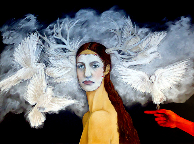 This painting by Judithe Hernández depicts a heavily layered portrait of an individual facing or staring at the viewer of the artwork. The background includes a dark black and blue color scheme with opaque cloud-like forms that transition into white birds fluttering around the primary individual in the foreground. The individual's body is turned facing left but their face is directly turned to the direction of one viewing the artwork. The individual contains antlers sprouting from the sides of their head and the expressionless face contains stitching alluding to mask-like qualities. Behind or to the right of the individual is a pointing hand, colored a deeply saturated red, entering from the right side of the artwork.