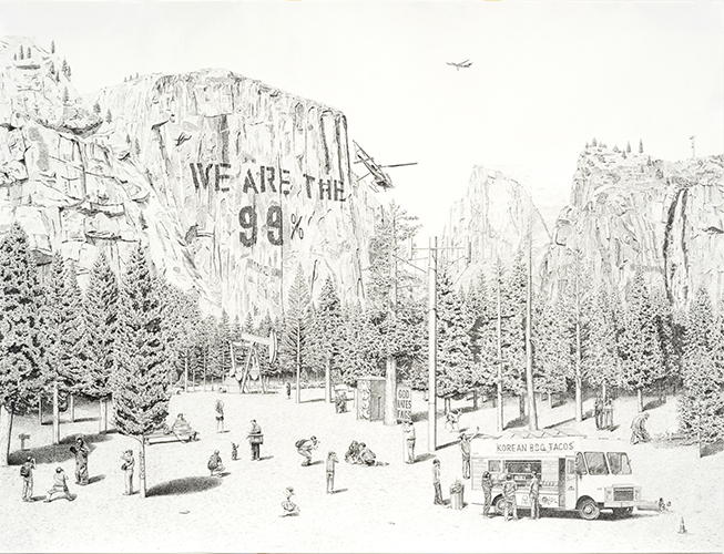 This drawing by Jennifer Celio depicts an outdoor space. Seen here is a social-sized gathering of individuals engaging in leisure activities within the setting. Included in the foreground is a rendition of a food truck labeled Korean B.B.Q. Tacos. The background landscape assumes a canyon-like or mountainous area. Along the large wall of the primary rock-form in the background is the text WE ARE THE 99%.