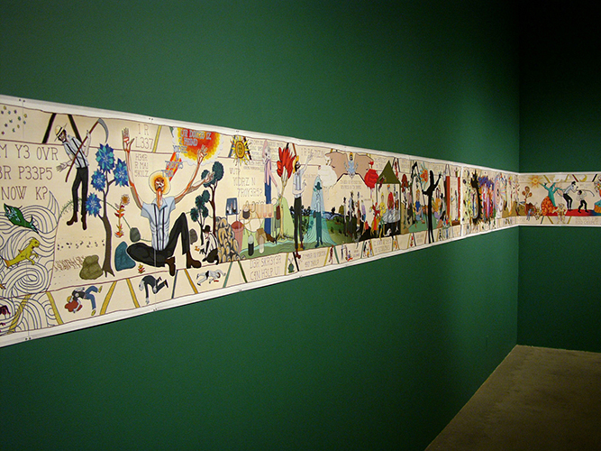 This artwork installation by Erin Cosgrove is a long wallpaper-like painting containing a scroll or codex-like composition. The surface has been treated with the implementation of text, individuals, and other biological imagery. The composition suggests a directional narrative, from left to right, as one attempts to analyze the artwork. The gallery's walls are also painted an emerald color as part of this installation.