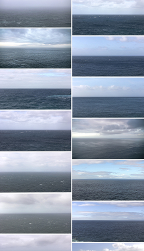 This photographic installation by Bia Gayatto includes a collection of fourteen visible images of large bodies of water or seascapes. Each image contains an overall composition of blue hues and resembles one another in that they contain a similar structure of the sky, a horizontal bisection of the image by a horizon line, and then a portion of a large body of water. Included with the sky of these images is varying quantities and densities of clouds and sunlight. The images are displayed in seven staggered rows and two staggered columns with a very minimal spacial distance between each image.