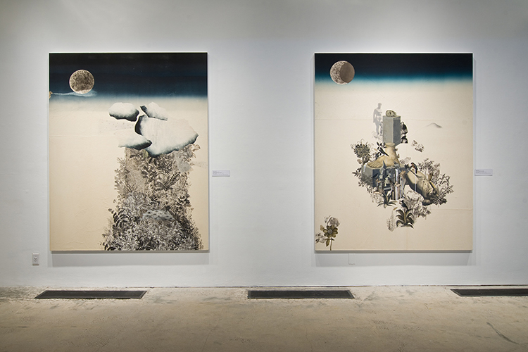 These artworks by Stas Orlovski includes a diptych of two large paintings mounted side-by-side onto the gallery wall. Both paintings are similar in their overall composition that includes a large space of what renders as bare or unpainted canvas, a mass of imagery in the center of the surface, and a horizon transition into a rendered dark sky and spherical object similar to a moon. The left painting includes a large column-like form ascending from the bottom edge of the painting. The column-like form consists of a dense collection of foliage and soft round cloud-like forms at the top. In this image, the moon is placed behind a hazy and wisp-like cloud form. The right painting includes a dense collection of imagery surrounded by foliage. The imagery includes architectural structures and buildings, body parts, and a desaturated rendition of an individual in the far background. In the lower-left corner of the painting is a small impression of leaves or foliage.
