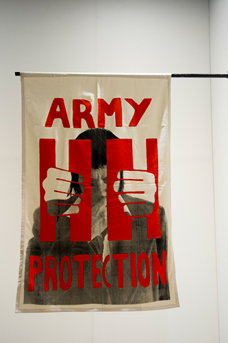 Mariah Garnett, Army Protection - David, 2018. graphics appropriated from the Poster Workshop