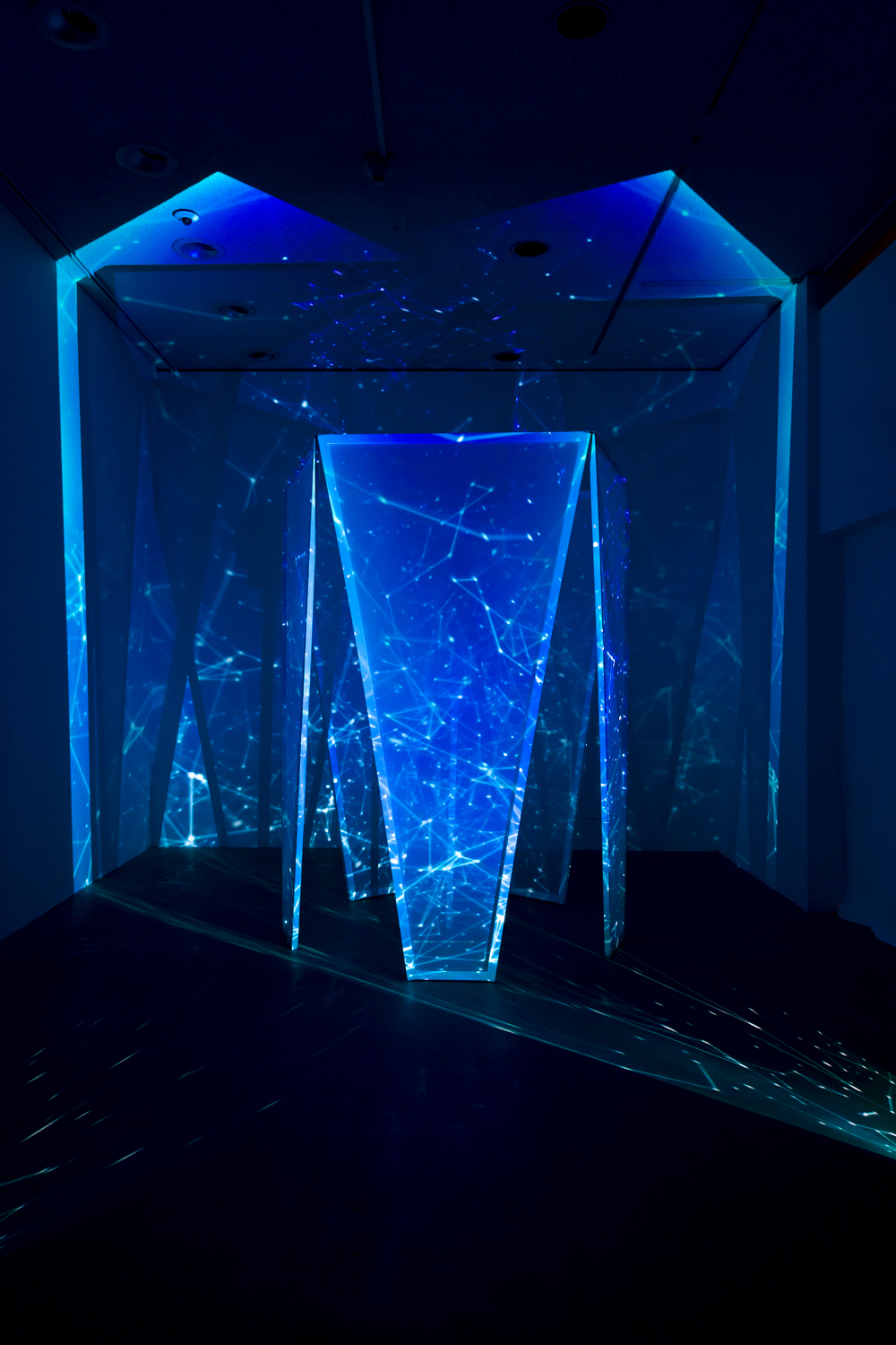 This video artwork installation by the artist Peter Wu features a video projection comprising a 3-D print of the artist's head in a distorted representation and a free-standing structure onto which videos are projected; the colors in the video range from bright blues, to dark reds and blacks. The 3-D print of the artist's head is placed in the center of the free-standing structure.