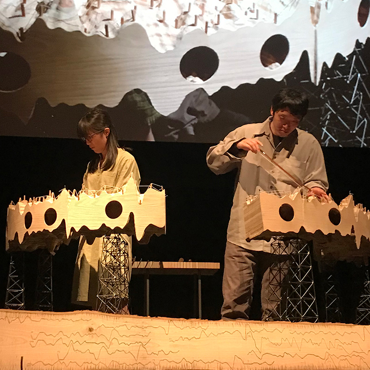 5 Seconds of Dreaming, Performance with Kozue Matsumoto and Eugene Moon at the Annenberg Theater at the Palms Springs Art Museum presented by Desert X and the Palms Springs Art Museum, photo: Katie Grinnan, 2019