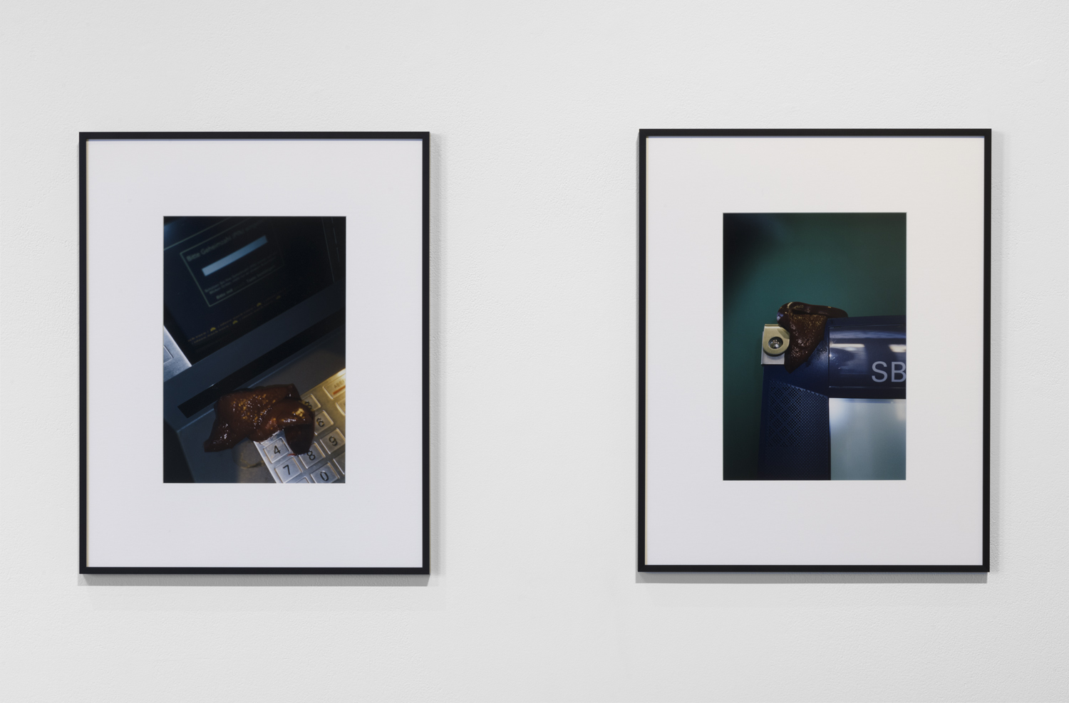 This artwork installation includes two photographs by the artist Josephine Pryde. The photograph on the left depicts a raw liver on top of an ATM machine keyboard. The photograph on the right depicts another raw liver on top of a dark blue machine set in front of a dark green-blue background. The machine has a partial lettering that reads