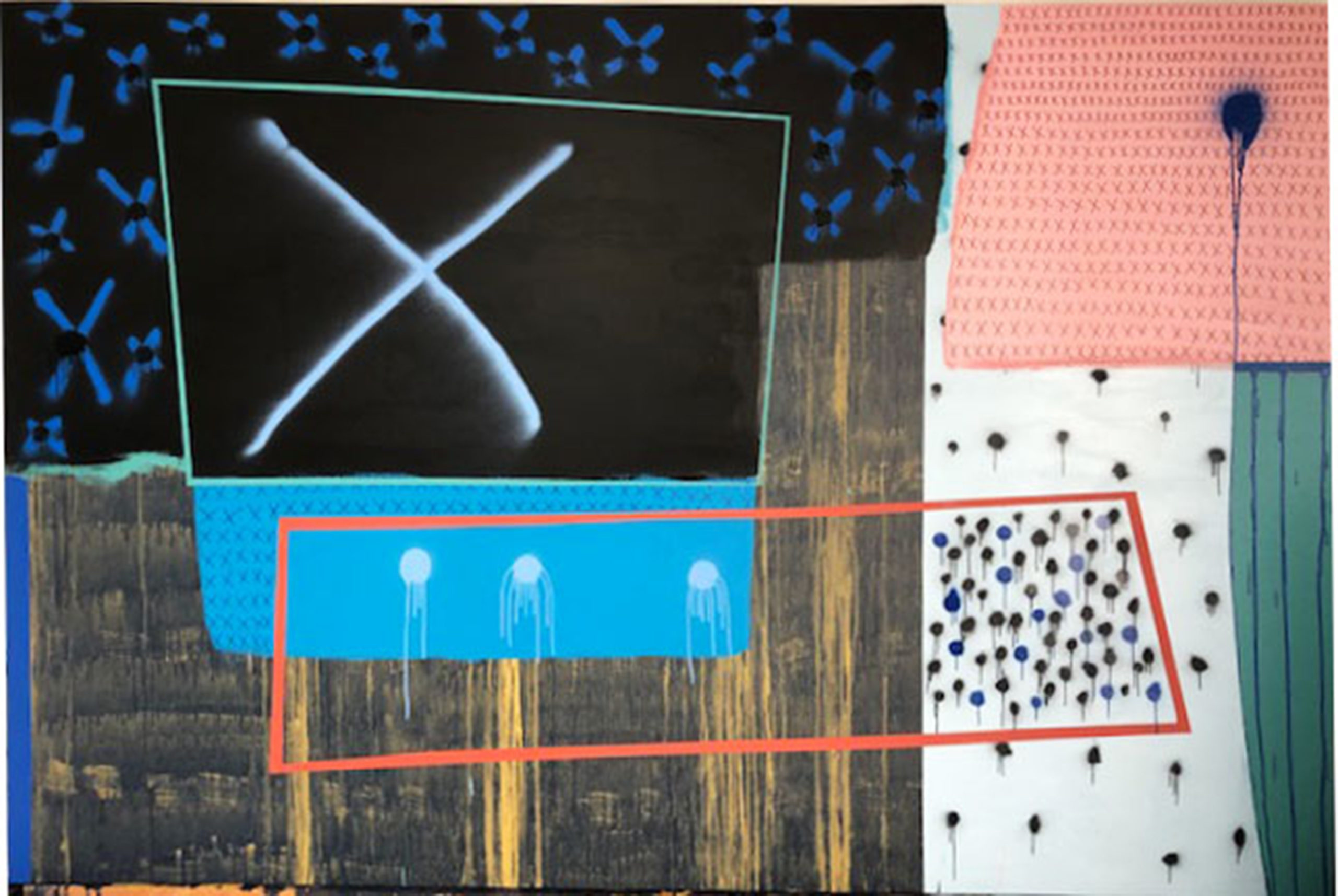 This painting by Holly Tempo features various blocky shapes, colors and textures. The left side of the painting predominately has darker colors, such as black, blue, brown and orange, making up rectangular shapes. One of the rectangular shapes has an X shape inside of it. The right side of the painting predominately has lighter colors, such as white and pink, with variations in shape including smaller X's and and circles.