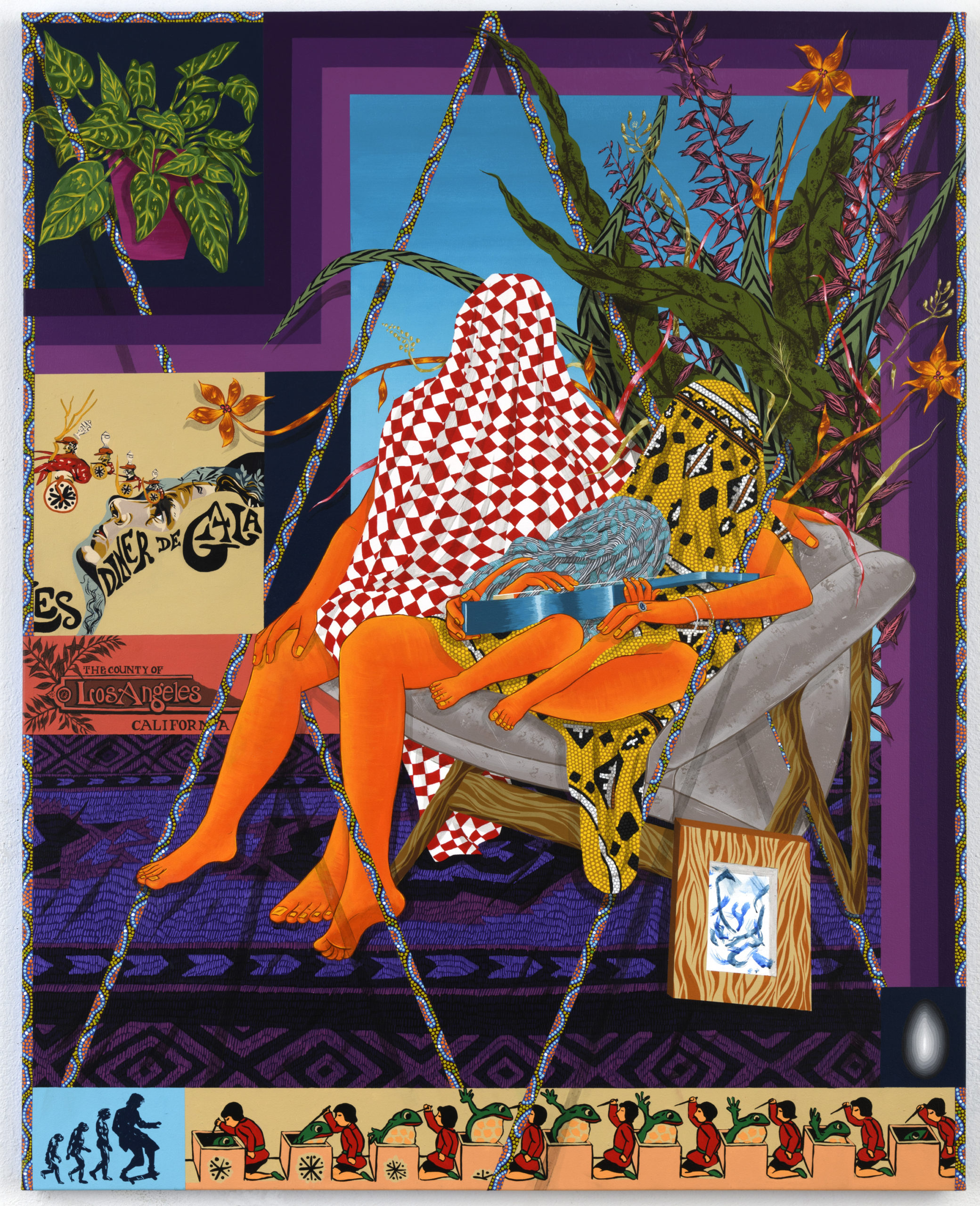 This artwork by the artist Amir H. Fallah is a large rectangular painting depicting two adults and one child with their faces covered by various patterned fabric and with orange skin. The adult male figure has a red and white checkered fabric, the female adult figure has a yellow, black and white geometric patterned fabric, and the child figure (sitting in the lap of the female adult figure) has a blue and grey patterned fabric. The child figure is also holding a blue guitar. These three figures are sitting on a grey armchair and situated in a living space. Behind these figures is a large green plant with orange and purple flowers and leaves. The space has a window framed by purple bands and features a bright blue sky. To the left of this window is a green plant in a red-purple planter. Beneath the planter is a poster with a floral design and the lettering