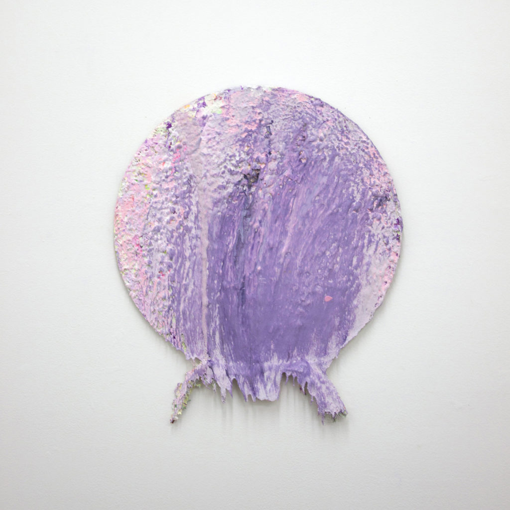 This is a color photograph of an abstract painting by Vanessa McConnell. The painting is on a circular canvas and has thick layers of pink and purple colored paints. The texture of the painting is smooth, and many small bumps are distributed throughout the surface of the painting. Extending from the bottom of the painting is a thick ridge of paint.