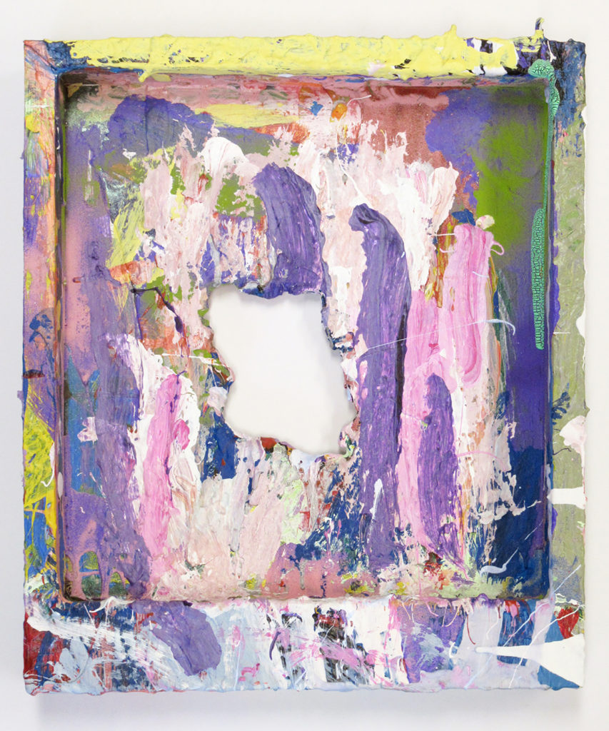 This is a color photograph of an abstract painting by Vanessa McConnell. This painting is on the backside of a rectangular canvas and has thick layers of paint of various colors, such as purple, pink, and green. There is a hole in the center of the canvas.
