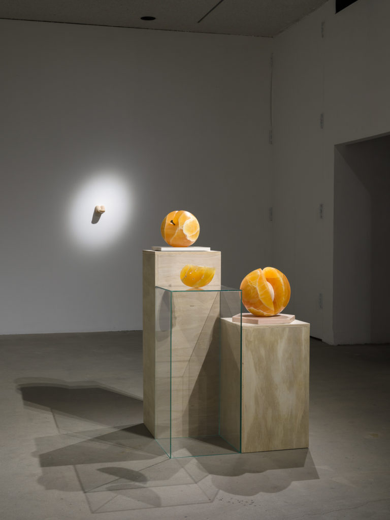This is a color photograph of four sculptures by Nevine Mahmoud. Three of the sculptures are in the foreground on pedestals (wood and plexiglass), each one made of orange calcite resembling cut or whole peaches. From top to bottom are: Peach Object, Slick Slice and Miss her (peach). In the background mounted on the wall is a flesh toned sculpture entitled Headless, which depicts a human tongue with the tip slightly upturned.